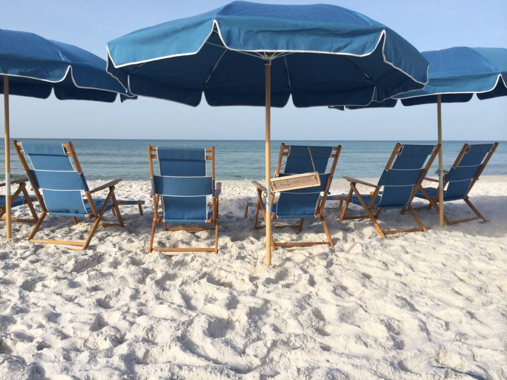 Beach Chair setups all along the beaches of 30a !!